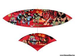 Áo diều in nhiệt Đám Cưới Chuột màu đỏ